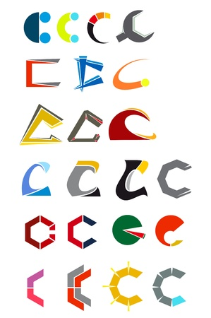 c design: Set of alphabet symbols and elements of letter C Illustration