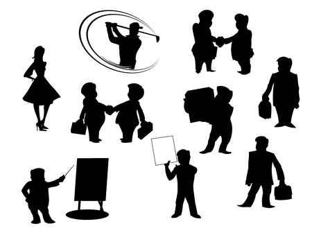 manually: Set of cartoon silhouettes isolated on white background. All peoples manually painted