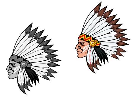 indio americano: Indígenas en traje nacional para el diseño de tatuaje Vectores