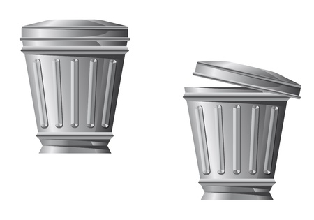 waste basket: Recycle bin icon in two variations isolated on white background