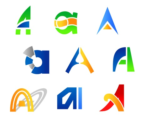 Set of alphabet symbols and icons of letter A