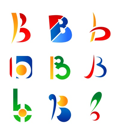 internet logo: Set of alphabet symbols and icons of letter B Illustration