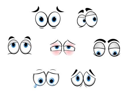 occhi tristi: Set di occhi divertenti del fumetto per i fumetti di progettazione Vettoriali