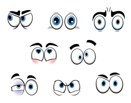 eyebrow makeup: Set di occhi divertente cartone animato, per il design di fumetti Vettoriali