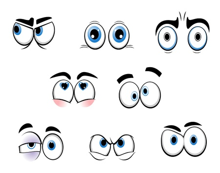 Set of cartoon funny eyes for comics design Vector