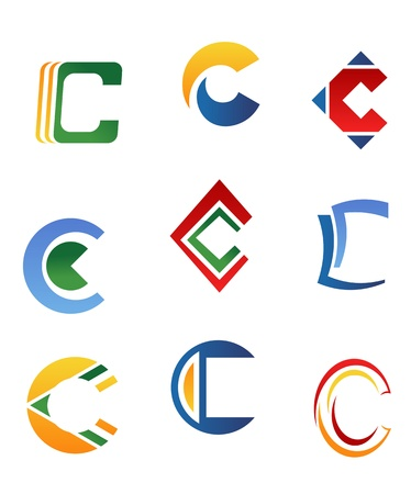 Set of alphabet symbols and elements of letter C Stock Vector - 10174220