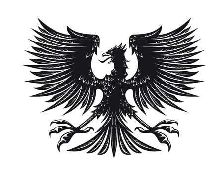 Big detailed eagle for heraldry or tattoo design Vector