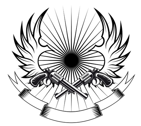 hooligan: Cowboy-Revolver mit Fl�geln und Band f�r heraldische oder tattoo Design