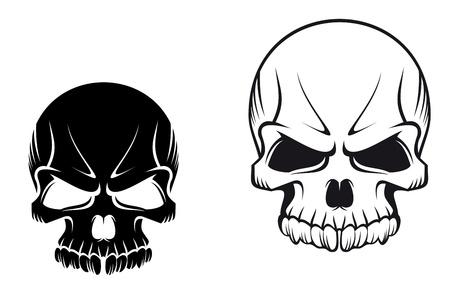tete de mort: Cr�nes mal�fiques de danger pour la conception de tatouage ou mascotte Illustration
