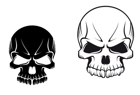 Danger evil skulls for tattoo or mascot design Vector