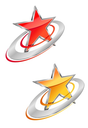 star mascot: Glossy star symbol for business or icon design