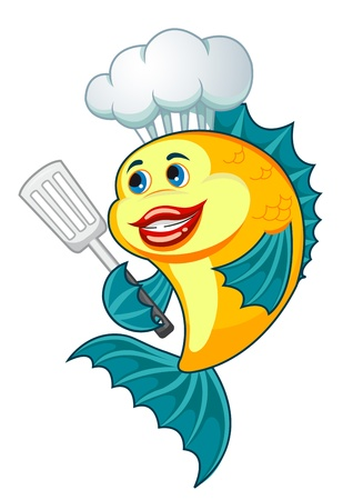 fishy: Cartoon cook fish with dishware for cooking concept Illustration