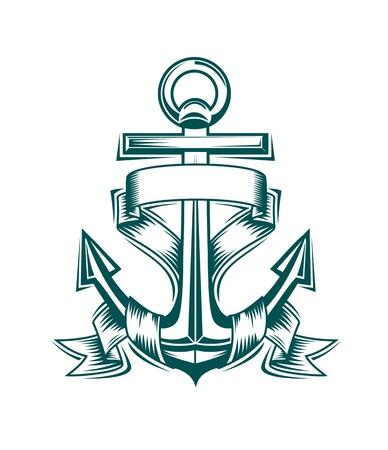 ancre marine: Ancrage antique avec des rubans pour la conception h�raldiques Illustration