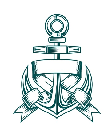 navy ship: Ancient anchor with ribbons for heraldic design