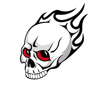 Danger evil skull with flames as a tattoo isolated on white Vector
