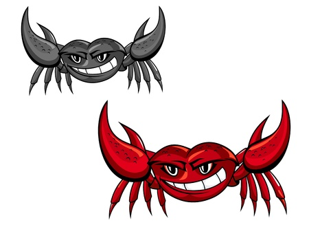 hardshell: Red crab with claws for mascot or seafood design Illustration