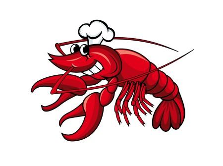 cangrejo caricatura: Sonriendo cangrejo rojo o camarón aislados en blanco Vectores