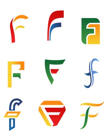 Set of alphabet symbols and icons of letter F Vector