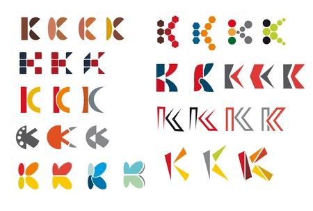 Set of alphabet symbols and elements of letter K Vector