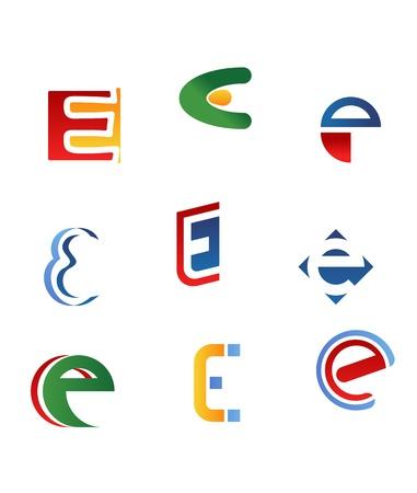 alphabetical letters: Conjunto de s�mbolos del alfabeto y los iconos de letra e