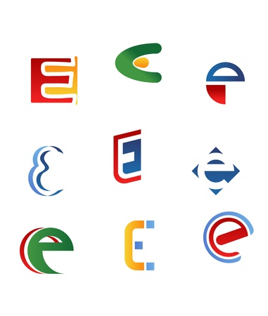 the letter e: Set of alphabet symbols and icons of letter E