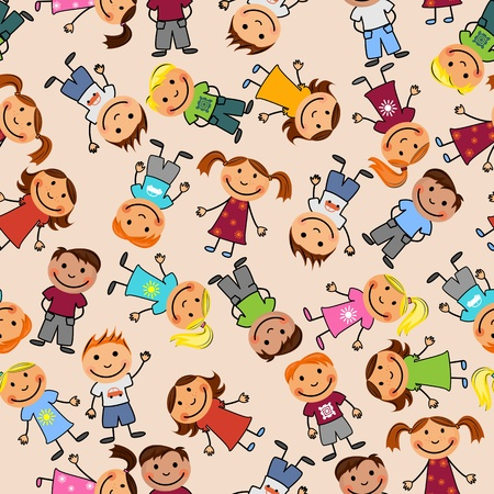 kindergarten: Young boys and girls in seamless pattern