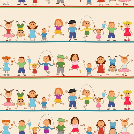 children clipart: Young boys and girls in seamless pattern