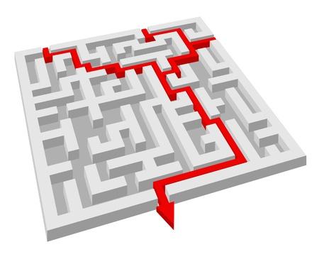 complicación: Laberinto - puzzle laberinto por concepto de soluci�n o �xito Vectores