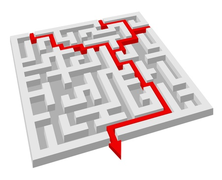 complication: Labyrinth - maze puzzle for solution or success concept