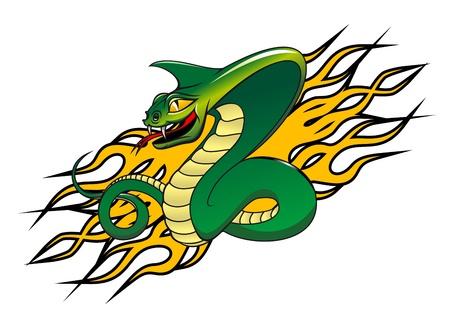 serpiente cobra: Serpiente verde peligro en estilo de dibujos animados como un concepto de advertencia
