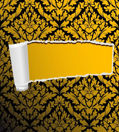 slash: Damask seamless background with hole for design