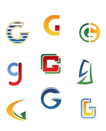 g: Set of alphabet symbols and elements of letter G Illustration