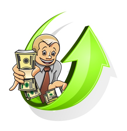 Cheerful businessman with dollars for raising money concept Stock Vector - 10459388