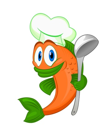Cartoon cook fish with dishware for cooking concept isolated on white background Vector