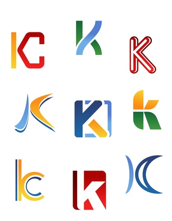 Set of alphabet symbols and elements of letter K Stock Vector - 10459375