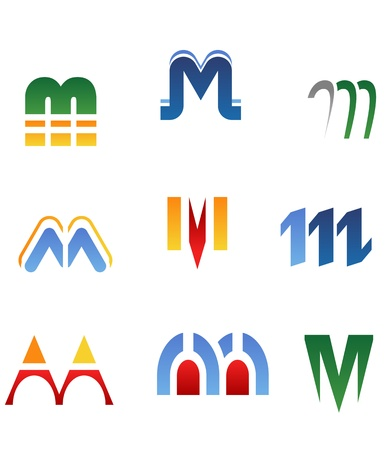 letter m: Set of alphabet symbols and elements of letter M Illustration