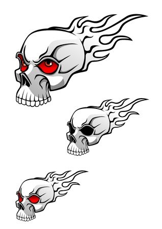 Danger evil skull with flames as a tattoo isolated on white Stock Vector - 10459384