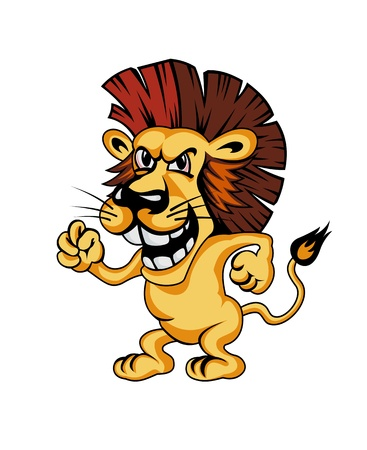 lion tail: Angry cartoon lion isolated on white background
