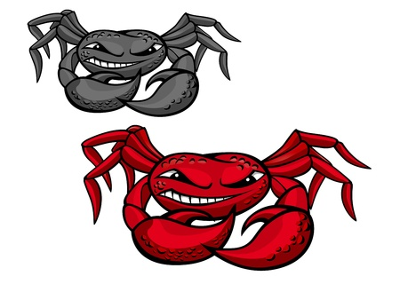 crab legs: Red angry crab with claws for mascot design