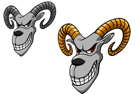 rams horns: Wild goat as a tattoo or mascot isolated on white background