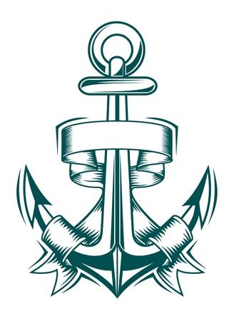 navy ship: Antigua ancla con cintas para dise�o her�ldico Vectores