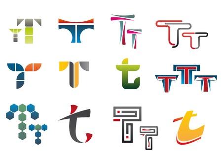 Set of alphabet symbols of letter T Vector