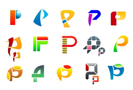 Set of alphabet symbols of letter P Vector