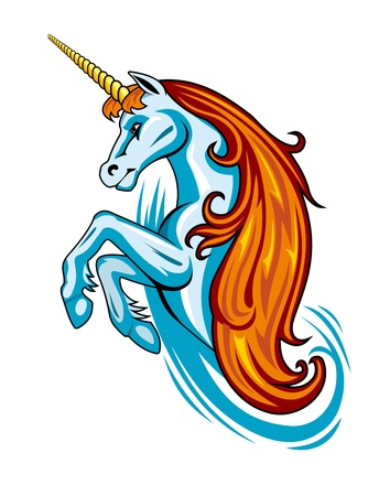 legends: Fantasy unicorn in cartoon style for tattoo design