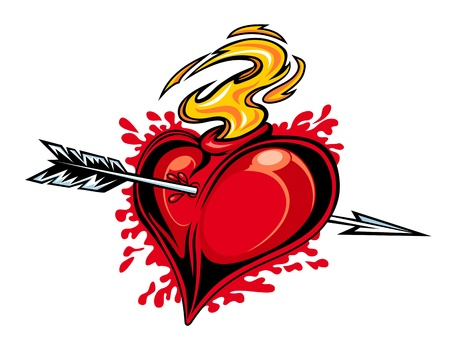 Red heart with arrow for tattoo design Illustration