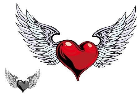 tatouage: C?ur de couleur r�tro avec des ailes pour la conception de tatouage