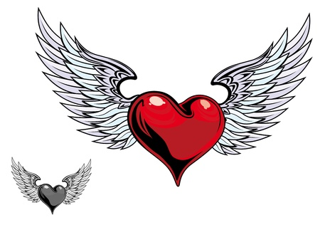 heart wings: Retro color heart with wings for tattoo design