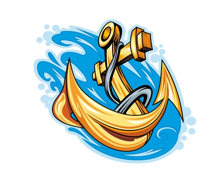 Anchor in sea water for tattoo design Vector