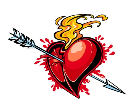 love target: Red heart with arrow for tattoo design Illustration