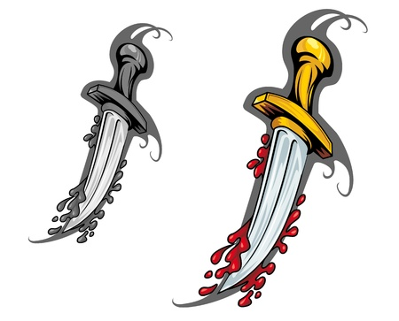 sword and heart: Blade with blood in cartoon style for tattoo design Illustration